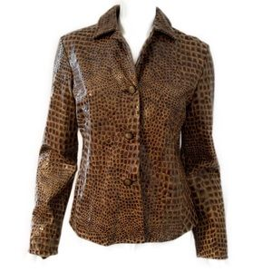 ETCETERA Croc Embossed Leather Jacket Blazer